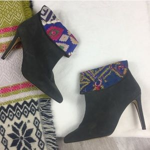 Anthro Howsty Sheela embroidered heeled booties